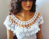 Hand Crochet Bridal bolero shrug, White Lace Capelet, Shawl, Bride Shoulder Wrap,Bride, Lace Fashion, Holiday Accessories, Pastel Fashion