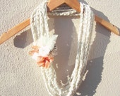 Hand Crochet  White Lariat Scarf, Infinity Chain Scarf, Loop Scarf,  Long scarf, Spring Fashion