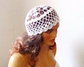 Crochet White Bridal Lace Hat, White Lace Hat, Wedding Accessories, Bride Bridesmaid Hat, Summer Fashion, Party, Dance