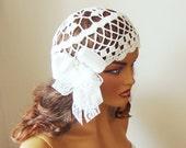 Crochet White Bridal Lace Hat, Ribbon, Lace, Wedding Accessories, Bride Bridesmaid Hat, Summer Fashion, Party, Dance