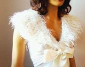 Hand Crochet Bridal Ivory Bolero Shrug, Shawl, Bride Bridesmaid Wedding Fashion, Capelet, Bride Shoulder Wrap,