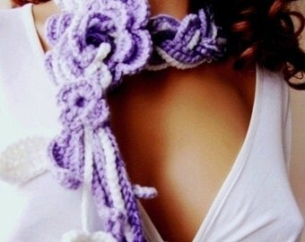 Hand Crochet Lariat Scarf, Violet And WhiteChunky, Winter Accessories, Holiday Accessories