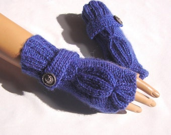 Hand Knit  Blue Purple Gloves, Mitten, Fingerless Gloves  With Button, Winter Accessories,Fall Fashion