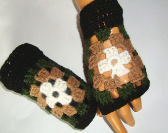 Hand Crochet Black Beige  Afgan Gloves, Mitten,  Fingerless, Granny Squares, Winter Accessories, Holiday Accessories