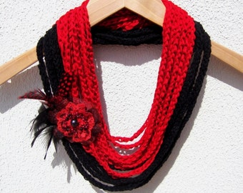 Hand Crochet Red Black Lariat Scarf, Infinity Chain Scarf, Loop Scarf,  Long scarf, Spring Fashion