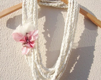 Hand Crochet White Lariat Scarf Ornamented With Flower And Feathers, Spring Fashion, Long scarf, Spring Fashion