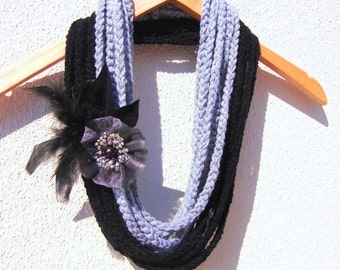 Hand Crochet Gray Black Lariat Scarf Ornamented With Flower And Feathers, Long scarf, infinity scarf, circle scarf loop cowl