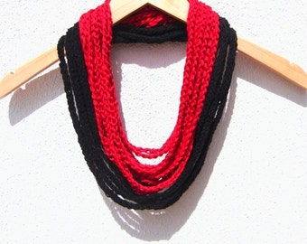 Hand Crochet Black Red Lariat Scarf, Long Scarf, Spring Fashion, Infinity Chain Scarf, Loop Scarf,