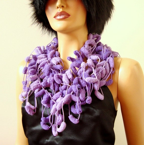 Hand Crochet Lavender Purple Long Scarf, Cowl, Wrap, Winter Accessories, Holiday Accessories, Handcrochet
