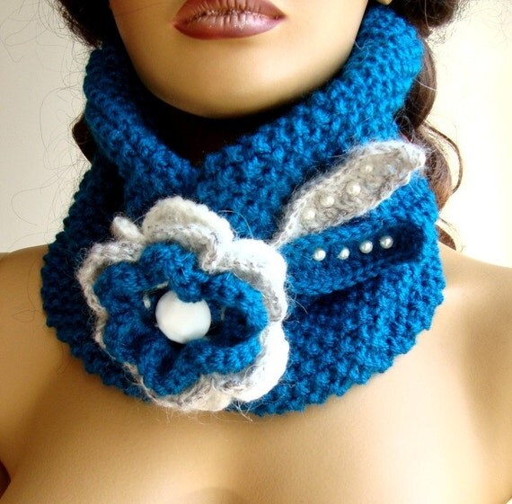 Hand Knit Oil Blue Neckwarmer, Scarf, Flower Beed And Button, Wrap, Cowl, Chunky, Winter Accessories, Holiday Accessories, Fall Fashion
