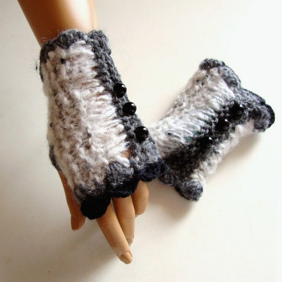 Handknit Gray Fingerles Gloves, Women Gray Mitten Ornamented  With Beads, Winter Accessories, Fall Fashion, Winter Fashion