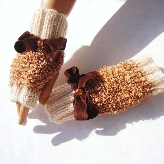 Hand Knit Half Finger Gloves, Beige Brown Fingerless Gloves, Armwarmer, Mitten, Beige, White, Brown, Winter Accessories, Fall Fashion