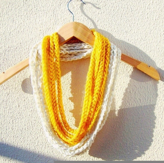 Hand Crochet Yellow white Lariat Scar, Long Scarf, Spring summer Fashion,  Infinity Chain Scarf, Loop Scarf,