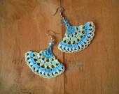 crochet earrings, turquois, green, blue