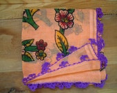 apricot scarf with purple lace edging