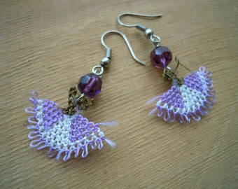 lilac oya earrings, needle lace