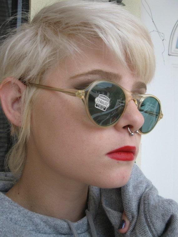 NWT 1930s 1940s Round CELLULOID Translucent SUNGLASSES/ dark green lenses