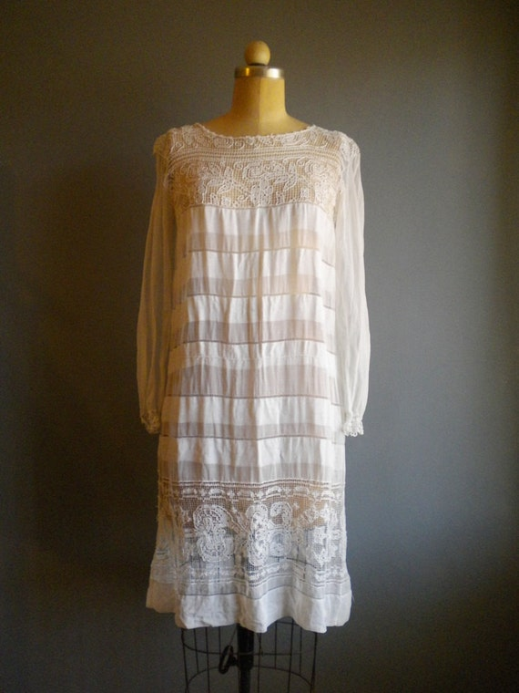 SALE 1920s estate white chiffon tea length wedding dress/ sheer with crochet lace / wedding / xs s