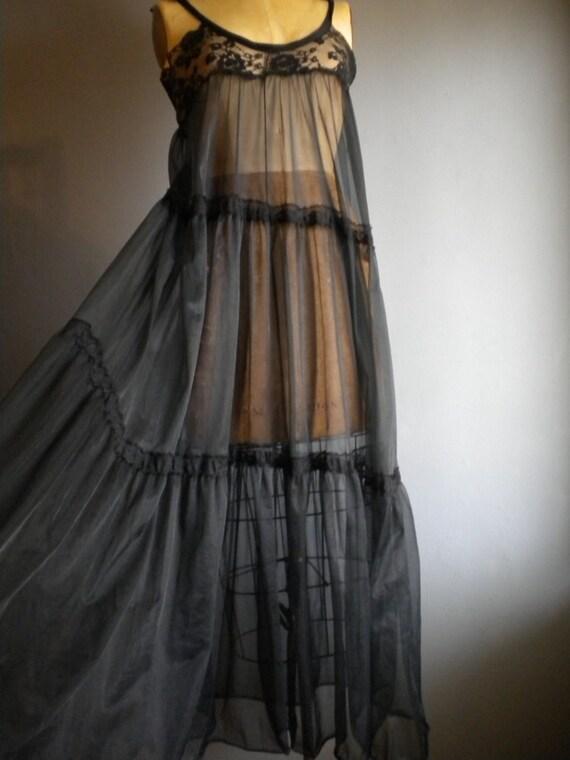lowcut black sheer chiffon maxi babydoll dress / hippie dress / shoulder ties/ s sm