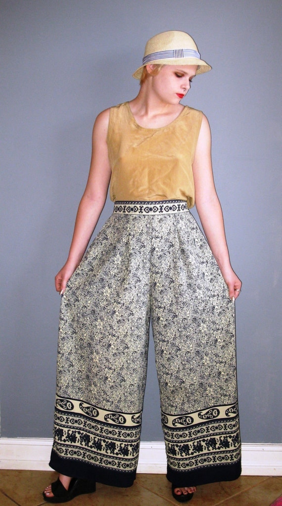 Bohemian CHIC INDIAN import print elephant pants were as wide as the elephants ears