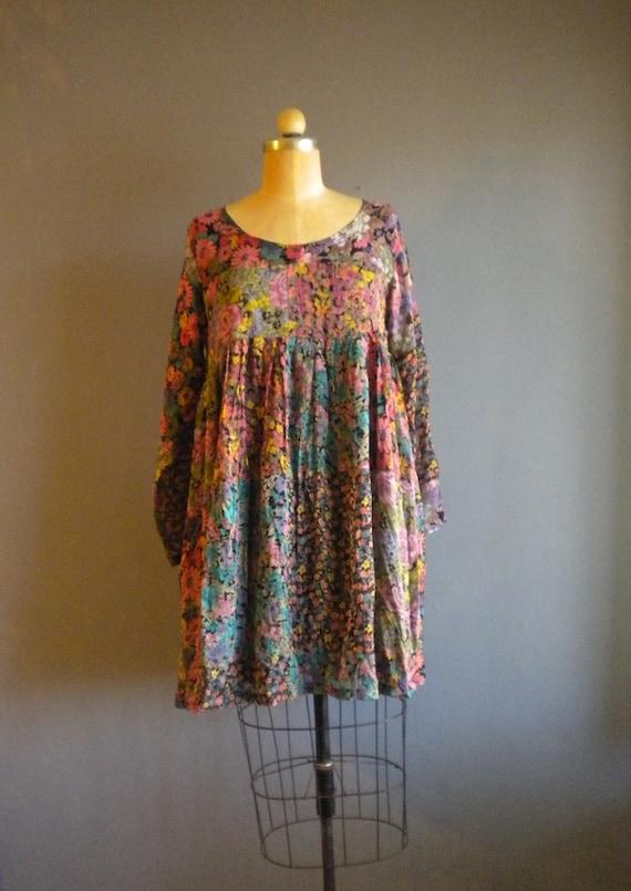 80s gypsie patchwork loose dress / baby doll / floral print / sm m