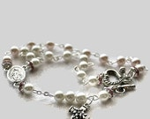 pink/white double decade Rosary Bracelet