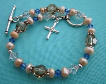 Bracelet - Sterling Silver Cross and Crystals