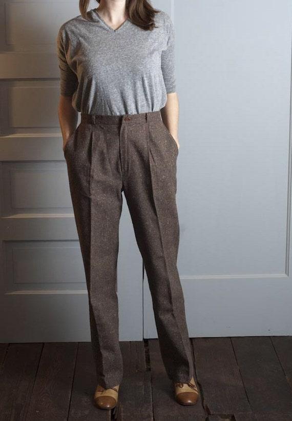 1970s High Waist Trouser in Brown Wool