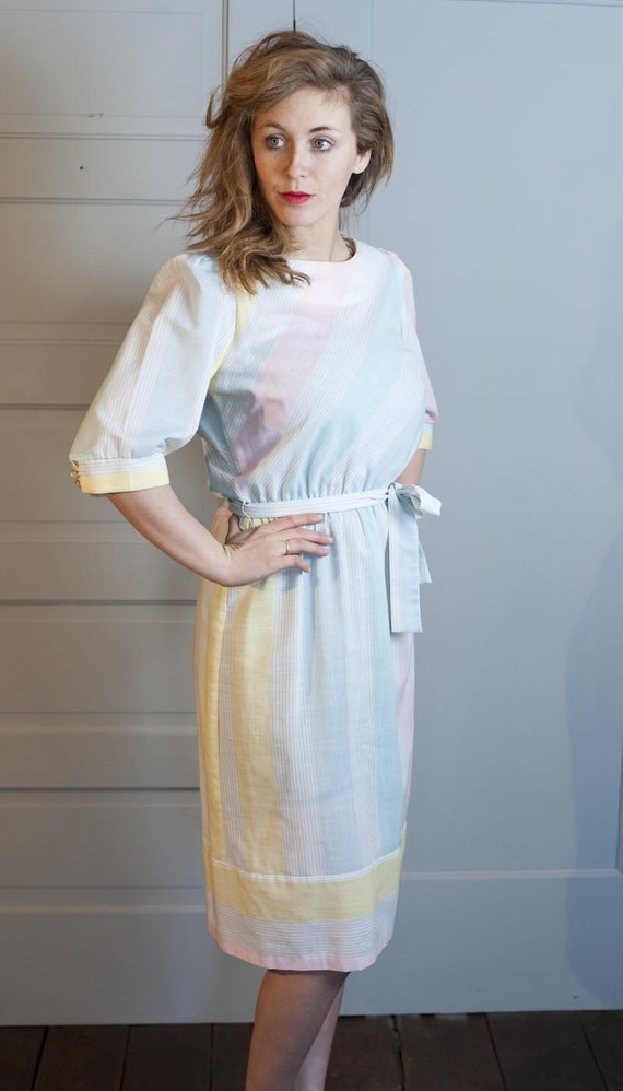 1970s Pastel Diagonal Lines Dress