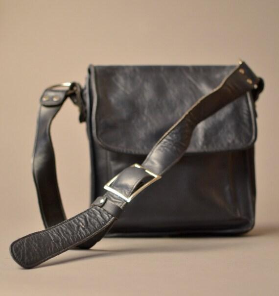 1950s Navy Leather Messenger Bag