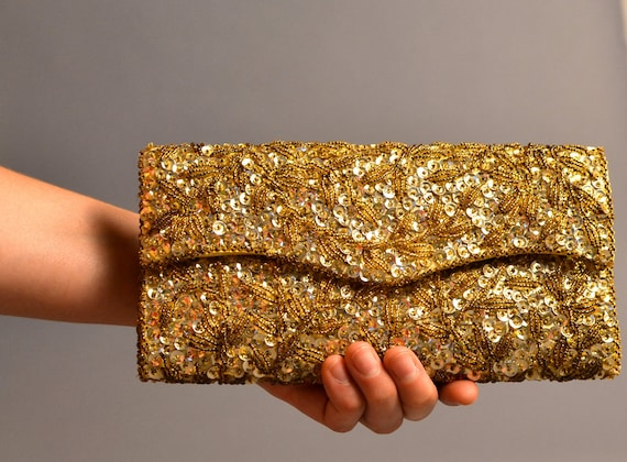 1960s Gold Sequined Clutch