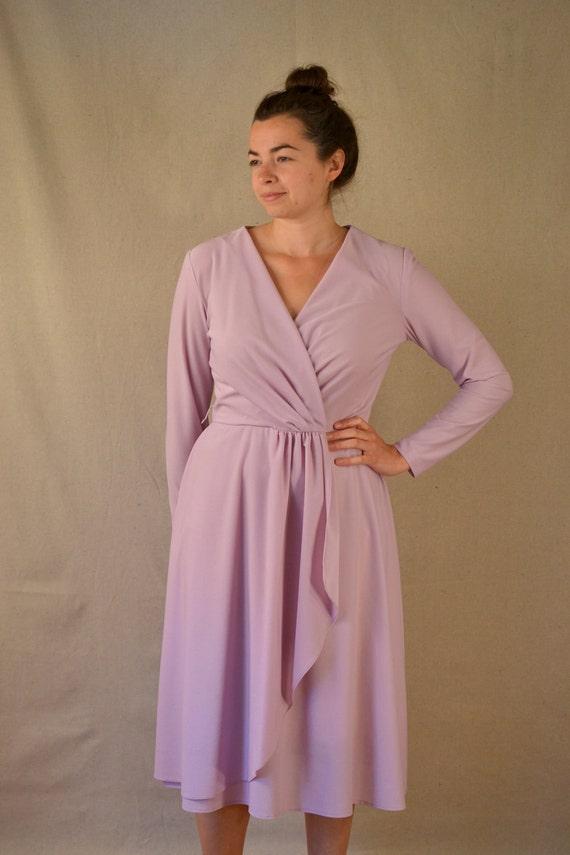 1970s Lavender Wrap Dress