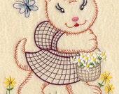 Vintage Baby Animal - Kitten and Flowers Design - Machine Embroidered Quilt Block