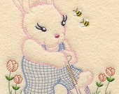 Vintage Baby Animal - Bunny and Bees Design - Machine Embroidered Quilt Block