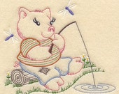 Vintage Baby Animal - Pig Gone Fishing Design - Machine Embroidered Quilt Block