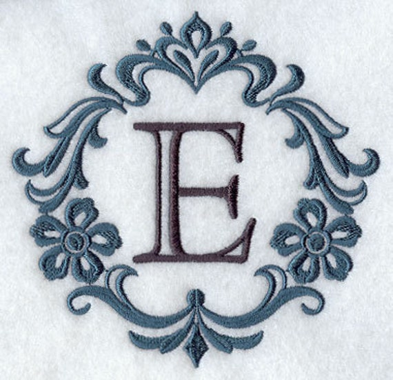 Embroidered Flour Sack Towel -Damask Monogram Embroidery Design