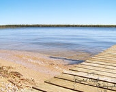 Cottage Photography Print, Nature Picture, Outdoor Waterscape, Blue Sky, Woodgrain Dock, Beach Cottage Decor, Cabin, Lake House Wall Art