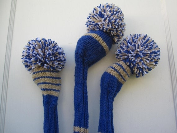 Hand Knit Golf Club Head Covers Set of 3 Blue Tan White with Pom Pom