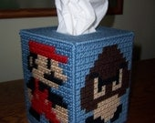 Pattern, Needlepoint, Plastic Canvas, Super Mario Brothers Tissue Box Holder, Printable PDF, Instant Download