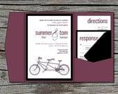 Wedding Invitation, DIY, Pocketfold, Tandem Bike, Printable, Digital File by ticklemeink on Etsy