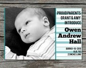 Birth Announcement, Photo, Striped, Printable, Digital File by ticklemeink on Etsy