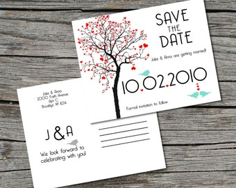 Wedding Invitation, Save the Date, Postcard, Heart Tree, Set of 100 by ticklemeink on Etsy