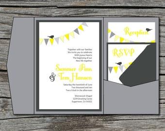 Wedding Invitation, DIY, Pocketfold, Flag Bunting, Bird, Printable, Digital File by ticklemeink on Etsy