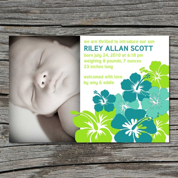 Birth Announcement, Photo, Hibiscus Flower, Printable, Digital File by ticklemeink on Etsy