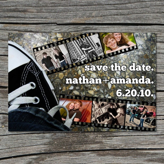 Wedding Invitation, Save the Date, Photo, Filmstrip, Converse, Printable, Digital File by ticklemeink on Etsy