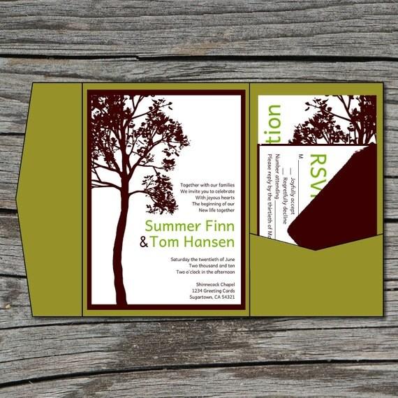Wedding Invitation, DIY, Pocketfold, Tall Tree, Printable, Digital File by ticklemeink on Etsy