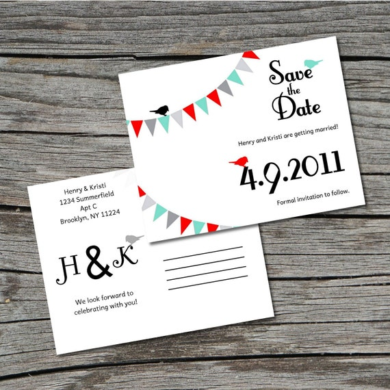 Wedding Invitation, Save the Date, Postcard, Flag Bunting Bird, Set of 100 by ticklemeink on Etsy