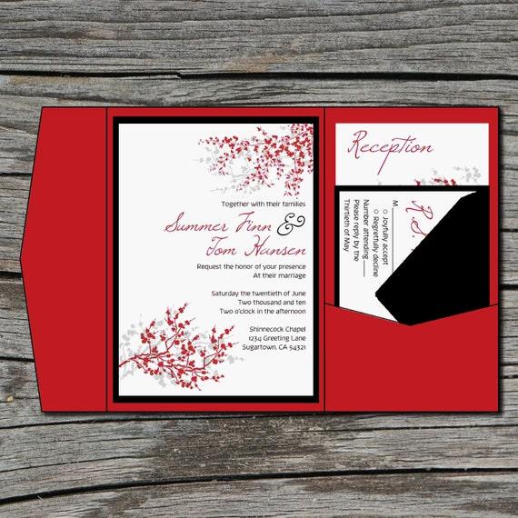 Wedding Invitation, DIY, Pocketfold, Cherry Blossom, Sakura, Printable, Digital File by ticklemeink on Etsy