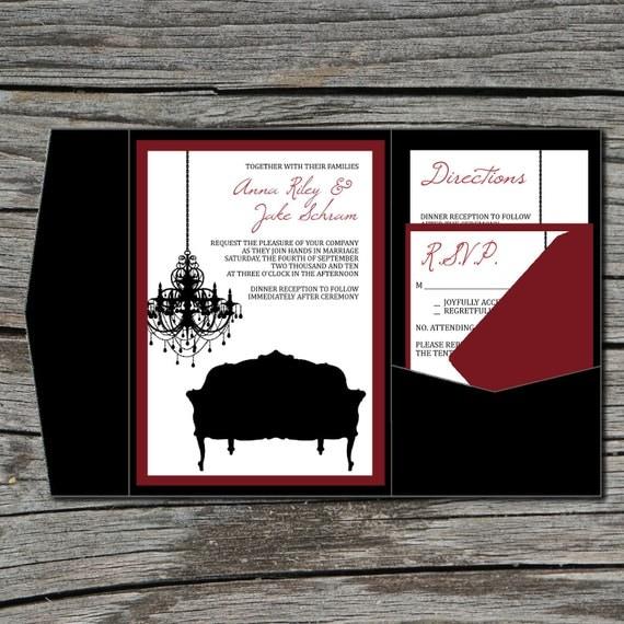Wedding Invitation, DIY, Pocketfold, Old Hollywood Glam, Printable, Digital File by ticklemeink on Etsy