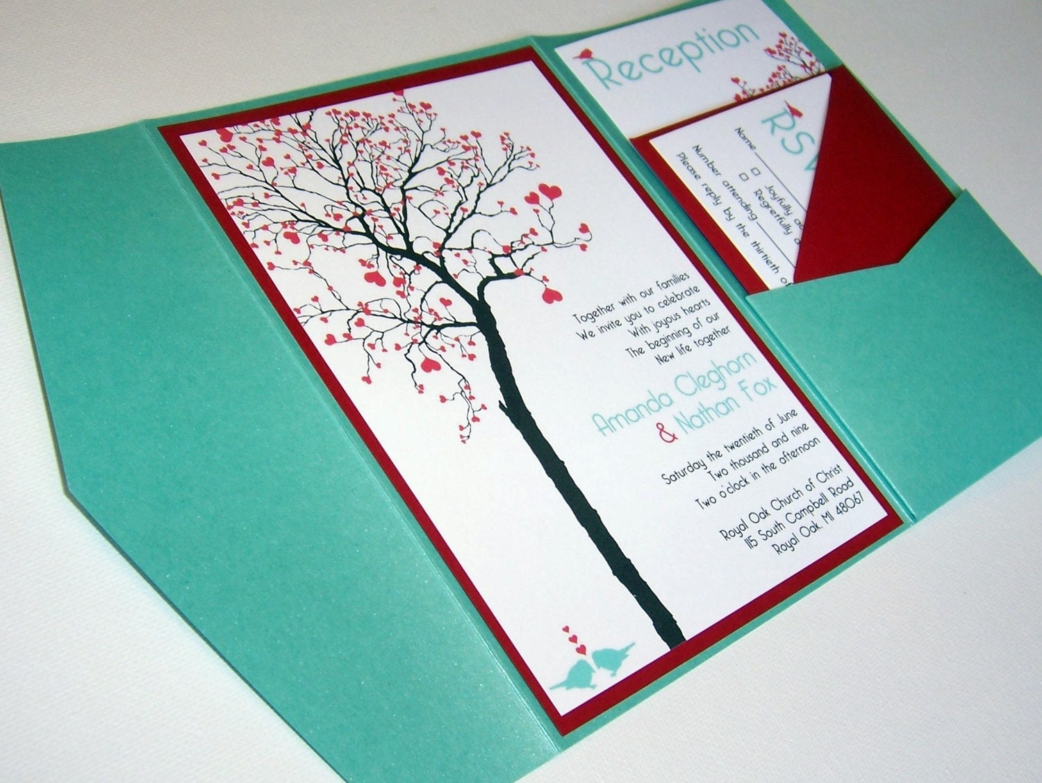 Photo Pocket Wedding Invitations: Wedding Invitation DIY Pocketfold Heart Tree Printable